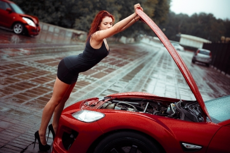 Unknown Model - road, woman, lady, model, babe, redhead, rain, wet, auto, engine, car