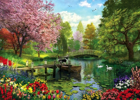 Forest Lake - pier, bridge, colors, swans, blossoms, flowers, spring, painting, dog, boat, artwork
