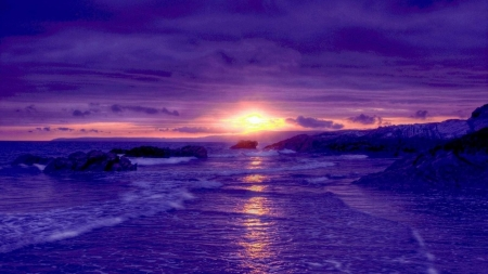 Purple Beach at Sunset - sunset, beach, purple, clouds, reflection, nature