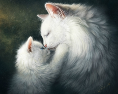 Tenderness - kiss, fantasy, paw, art, pisica, white, luminos, cute, kitten, cat, mother, tenderness, alenaekaterinburg