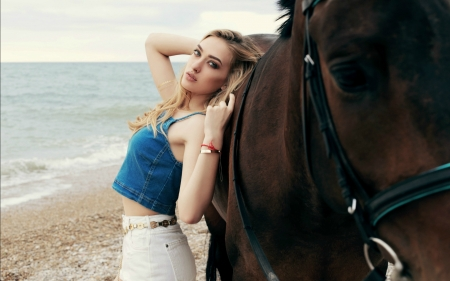 A Day At The Beach - water, cowgirl, horse, wave, ocean, sand, beach, blonde, waves