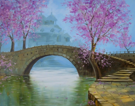 Beautiful ! - colors, painting, pink, landscape, nature, bridge, colorful, lovely, color, pretty, water