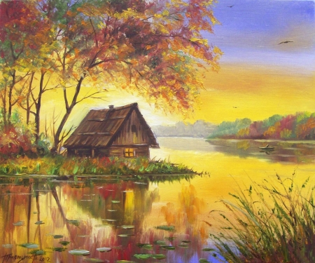 Cottage on the lake - fields, nature, house, colorful, lake, barn, color, beautiful, pretty, cottage
