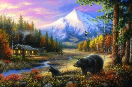 Routine Visitors - attractions in dreams, love four seasons, animals, summer, streams, landscapes, cabins, bears, paintings, nature, mountains