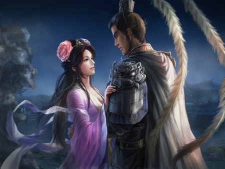 The princess and the warrior - couple, lu bu, warrior, luminos, pink, blue, beauty, girl, man, woman, asian, feather, fantasy, princess, diao chan