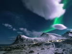 Aurora Borealis Over The Snowy Mountains
