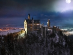 Full Moon Over Neuschwanstein Castle, Germany