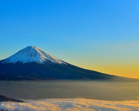 Mount Fuji - fuji, mountain, nature, sunset