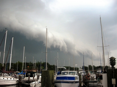 Incoming Weather - Boats, Sky, Chesapeakle Bay, Maryland, Weather