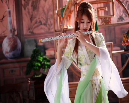 Girl on flute - female, people, models, beautiful, costume, pretty, girls, dress, Asian