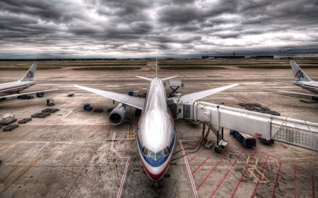Storm Clouds - clouds, storm, HDR, plane, airport, photograph