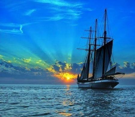 Into the blue - sails, sunset, blue, ocean