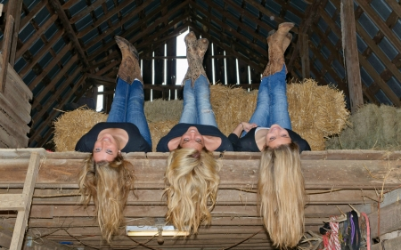 ~Cowgirls~ - barn, boots, hay, loft, bales, hayloft, blondes, cowgirls