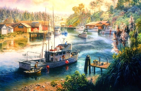 Deep Sea Readiness - paradise, houses, harbor, summer, attractions in dreams, people, love four seasons, nature, paintings, sea, boats