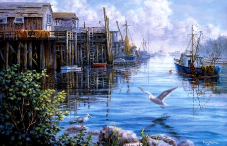 Bird Eye View - paradise, harbor, villages, attractions in dreams, summer, love four seasons, nature, paintings, boats, flying birds