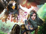 Fantasy girl and eagle