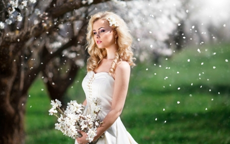 Cherry Blossoms Falling on Gorgeous Blonde - flowers, trees, model, blonde