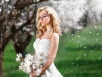 Cherry Blossoms Falling on Gorgeous Blonde