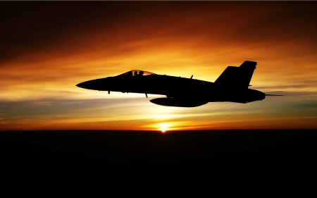 F/18 Hornet at Sunset - military, aircraft, sunset, hornet