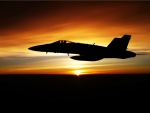 F/18 Hornet at Sunset
