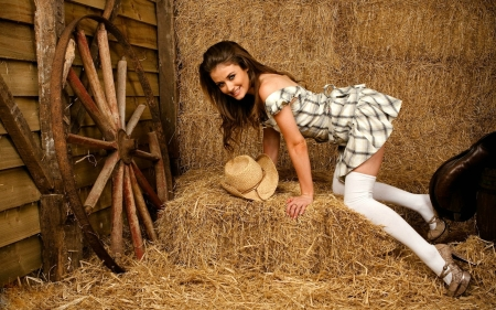 Cowgirl Jess in the Barn - model, cowgirl, brunette, hat, dress
