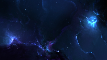 Nebula Blue - space, 3d, blue, nebula, galaxies