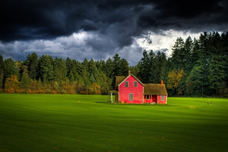 Red Farm House,Canada - trees, clouds, field, farm, house, nature, forest, red