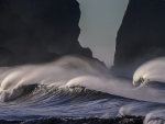 Ocean Waves and Tall Rocks