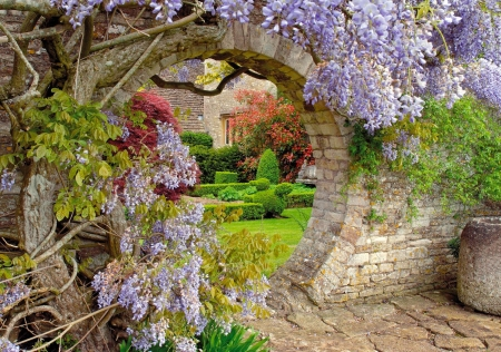 Secret garden - garden, arch, beautiful, wisteria, secret, pretty, lovely, stones, flowers