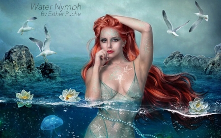 Water Nymph - sea, ocean, magical, Sexy, Dreamy, siren, gorgeous, pretyy, Mermaid, face, water, nymph, Redhead
