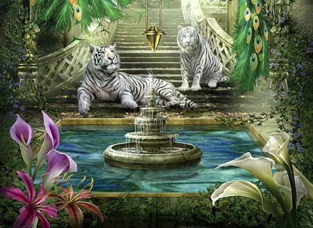 Royal Tigers - fountain, exotic, painting, artwork, flowers, stairs, white
