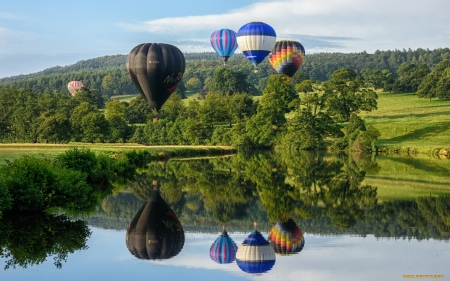 Hot Air Balloons - lake, landscape, trees, Balloons