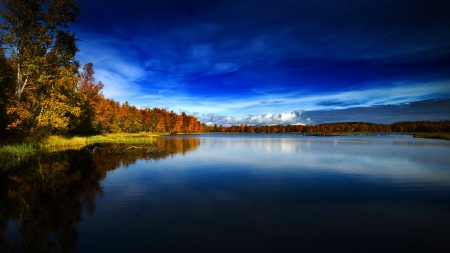 Autumn In Norway - lake, trees, clouds, sky, nature, forest, autumn