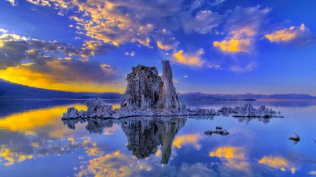 California Lake Reflection - lake, clouds, rocks, sky, reflection, nature