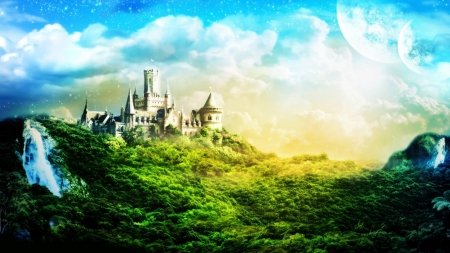 Castle on Green Hill - hill, castle, sky, green, trees, forest