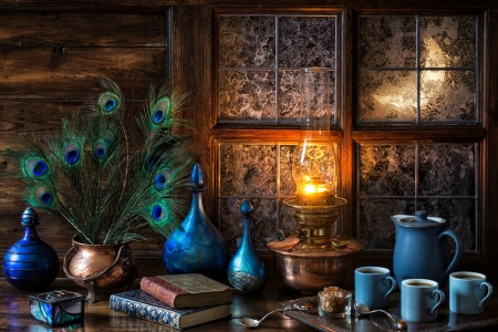 Moonlit Evening - feathers, decanter, cauldron, coffee decanter, window, cups, wood, copper, frost, lamp, flame, tray, oil lamp, coffee pot, windows, frosty, coffee, peacock feathers, decanters, books, table, still life, moon, spoons, bottles