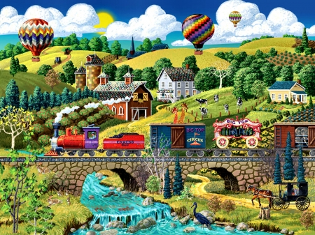 Big Top Circus Train F - painting, art, illustration, wide screen, railroad, beautiful, train, circus, locomotive, tracks, artwork, engine