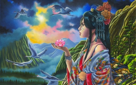 Oriental Fantasy - colors, painting, Fantasy, lotus, Scenery, lovely, beautiful, oriental, japenese, sky