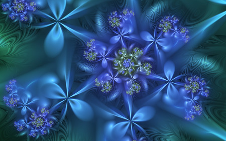 Midnight Blues - fractals, blue, spiral, flowers
