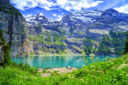 Lake in the Valley - attractions in dreams, Asinense, Bernese Oberland, love four seasons, nature, lakes, Oeschinensee, landscapes, mountains, Bernese Alps, flowers, Switzerland
