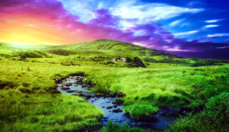 Colorful Sky over the Hills - Nature, Grass, Sky, Hill