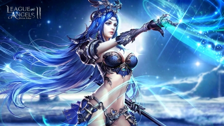 Fantasy girl - girl, luminos, white, blue, game, league of angels, fantasy, frumusete