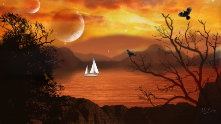 Moonlight Sail - moon, sunset, trees, sea, sailboat, mountains, birds