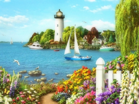 By the Bay - attractions in dreams, love four seasons, flowers, summer, lighthouses, bays, coast, sailboat, houses, paradise, paintings, sea, nature, boats