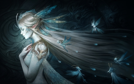 Queen of fairies - Queen, fantasy, fairies, female, elf, blue