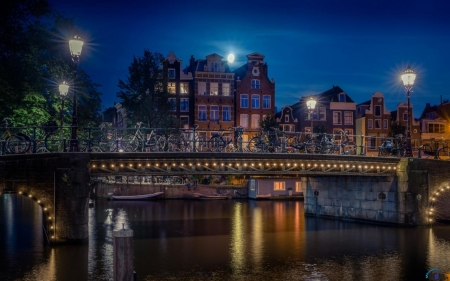 Fantastic bridge - Amsterdam, lights, pretty, houses, architecture, bridges, night