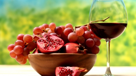 Easy snacks - grapes, snack, red, people, food, pomegrantes, wine, fruit, outdoors