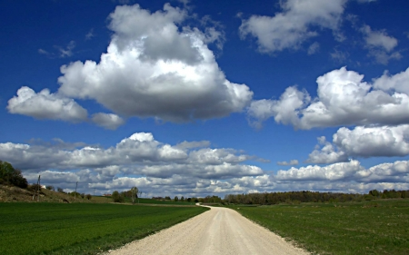 Country Road in Latvia - clouds, Latvia, road, fields