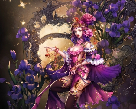Goddess - fantasy, pink, milkyu dong, flower, purple, girl, goddess, luminos, frumusete
