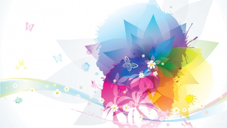 Spring Abstraction - floral, splatter, flowers, splash, butterflies, pastels, Firefox Persona theme